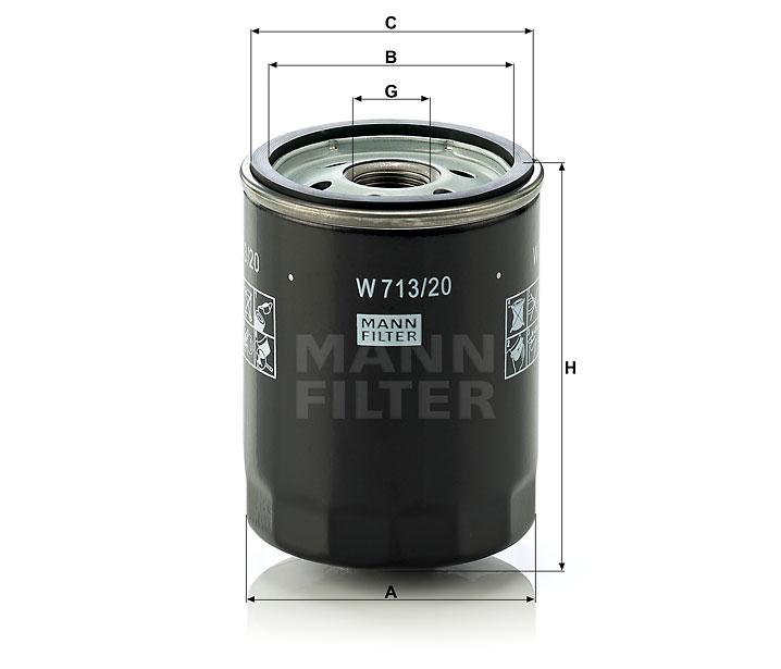 Mann-Filter W 713//20 Spin-on Oil Filter